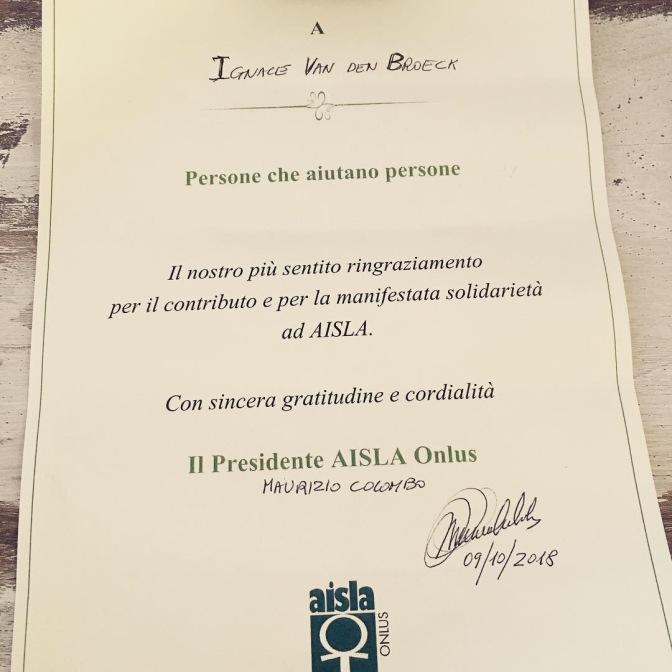 Getuigschrift ontvangen van AISLA Onlus.