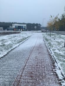 Verse sneeuw in Leszno.