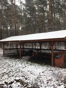 Lunchpauze na de eerste sneeuw in Polen.