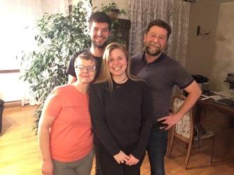 Ilona, Suzanne & Adam, mijn hosts in Kunice.