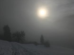 Zon, mist en sneeuw.