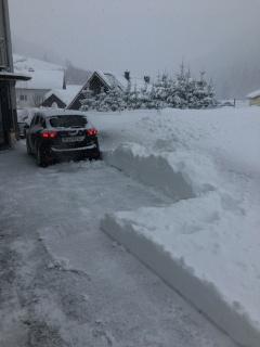 Oprit sneeuwvrij maken.