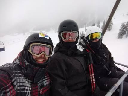 In de skilift.