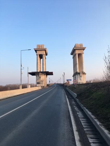 Donaubrug: Grens Roemenië-Bulgarije.