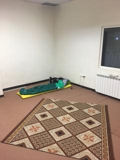 Slapen in de gebedsruimte.