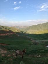 Laatste klim van de officiële Pamir Highway (M41).