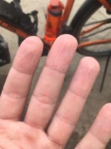 Na enkele uren fietsen.