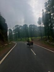 David op een lege Indische baan met perfect asfalt.