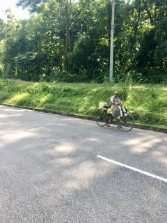 Veel fietsers in Nepal.