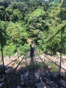 Nacho op een suspension bridge.