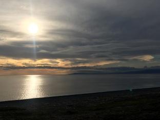 Zonsondergang aan de Japanse kust.