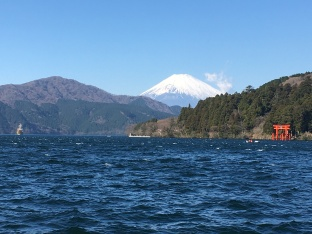 Mount Fuji aan Lake Hakone.